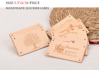 Free shipping leather lable hand sewing lable 9designs/lot 3.5*6cm light color lovely design lable for bags handmade accessory