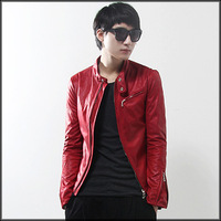 Stand collar slim short design male leather clothing boys leather jacket motorcycle leather clothing men's y08-p80 red -401