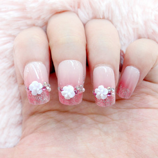 Bride false nail patch rhinestone finger finished products pink 24 gumtrees finger