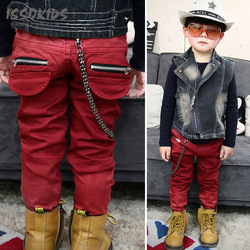 ISSO KIDS baby denim zipper red pants Children Jeans boys and girls, kid jeans hip hop design(China (Mainland))