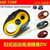Free Shipping 2013 Newest Unique Design HD 1280*720p Helmet Sport Camera Head Mini Sport Camera F8 +bulit in 8GB Memory