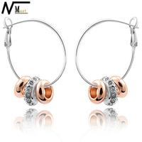 MT JEWELRY Alloy Earrings from Medical Rhinestone Hoop Earrings