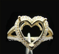 10X10mm heart shape Solid14k Yellow Gold Engagement&Wedding Diamond Setting Ring