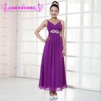 Purple double shoulder strap V-neck long design the bride evening dress banquet formal dress chiffon costume