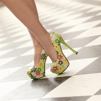 2013 new arrival high-heeled shoes woman spring sexy leopard print platform pumps Piscine mouth shoe
