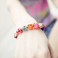 Candy color stone bracelet jewelry multicolour skull vintage elastic fashion bracelet