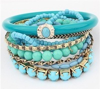 Factory Price 2013 New Arrival Fashion Bracelet Jewelry/European folk style series multilayer hot Beaded Bracelet/Have 4 color