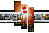 Free Shipping Abstract Oil Paintings Painted by Hand Flower Orange Wall Decoration