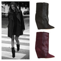 2013 new arrival A-bow isabel marant horsehair patchwork wedges pointed toe genuine leather short boots