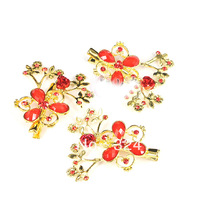 New style own factory cheap hair jewelry red acrylic flower haipins wedding jewelry
