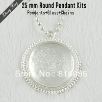 Round Pendant Kits: 1 Inch Silver Plated Circle Pendant Trays + Matching Glass Cabochons + 25.6Inches Ball Chain necklaces