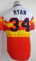 Free Shipping Houston #34 Nolan Ryan Men's Throwback Baseball Jersey,Embroidery and Sewing logos,Size M--3XL