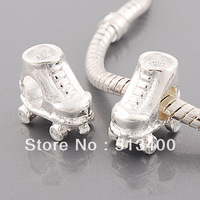 Free shipping!Vnistar Silver Plated Beads,Ice Skate Shape Metal Beads For Jewelry (PBD3132) 20 Pieces Each Lot