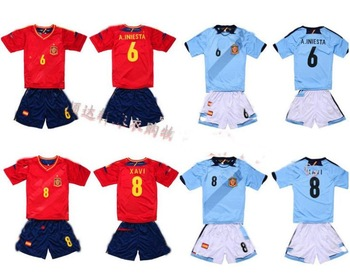 Kids Thai quick dry Spain jersey 2013 Alonso Iniesta Xavi Pedro Uniform Custom Kids Soccer Jersey  the football of the uniform