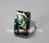 size #9.5-10.5 rectangular big abalone shell ring