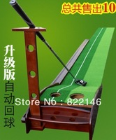 free Shipping Wooden Indoor Golf Practice Swing Trainer with Automatic Ball Return ,