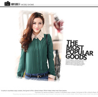 Spring new Korean double collar Slim single-breasted chiffon shirt long - sleeved blouse