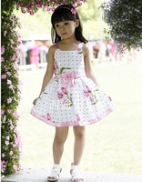 2013 new Fashion Princess dress dot sleeveless flower belt strap cotton dress,4pcs/lot,