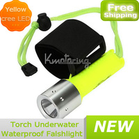 Wristband Underwater Led 1600lm Cree Diving Bright New Waterproof Torch Super light yellow Flashlight Free shipping