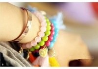 Min.order is $15(mix order)Vintage Bohemia, exclusive colorful tassels portrait of love flower lovers' Bracelet /H051