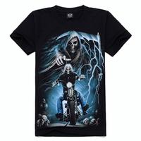 Promotion hottest style punk print skull t-shirt 3d men's  t-shirts brand t shirt men factory price