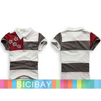 New Summer Wear cheap Boys clothes cool baby Tops Turn-down Collar star Striped design Tshirts Free Shipping K0463