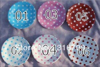 "7"" Polka dot party paper dishes wholesale 2400pcs (200 dozen)  free shipping via FEDEX / DHL / EMS"