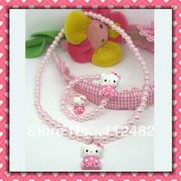 Free Shipping kimono hello kitty kids plastic pearl jewelry set ring / bracelet / necklace