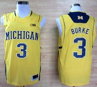 HOT Free shipping Michigan Wolverines #3 Trey Burke 3 Big 10 Patch Basketball Authentic Jerseys yellow color away Jerseys jersey