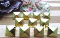 Factory direct 500pcs brass DIY 6MM pyramid square stud and Rivet Punk Bag Belt Leathercraft Free shipping