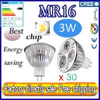 Factory directly sale 30pcs/lot CREE Bulb led bulb MR16 3x1W 3w AC/DC 12V Dimmable led Light led lamp spotlight free shipping