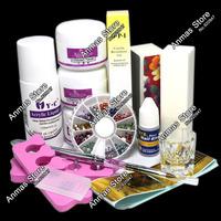 Free Shipping Nail Art Tips Kit DIY Acrylic Nail Liquid Powder Nail Art Tool Set,HB-NailArt01-1224set