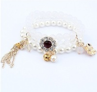 Wholesale 2013 fashion jewelry,South Korea all-match pearl multilayer Stretch Bracelet/3color