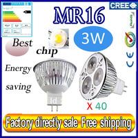 Factory directly sale 40pcs/lot CREE Bulb led bulb MR16 3x1W 3w AC/DC 12V Dimmable led Light led lamp spotlight free shipping