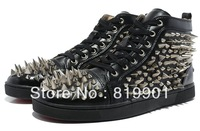 Free shipping wholesale 2013 latest black leather spike men women canvas sports casual high shoes sneakers EUR size 36-46