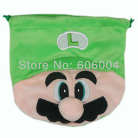 Free Shipping EMS 100/Lot New Super Mario Bros LUIGI Drawstring Bag Coin Purse Plush Wholesale
