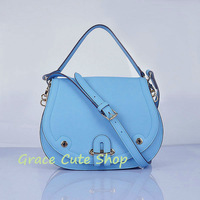 Lady Shoulder Bag Long Strap Detachable Handbag Dual-Use 5A Quality Real Leather With Dust Bag #H8069-Sky Blue