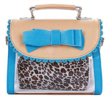New Star Bags!free shipping 2013 new Summer transparent leather bowknot ladies' handbag cute princess shoulder bag sling bag