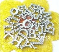 1300pcs 8mm A-Z 8MM Half rhinestone slide letters DIY charms