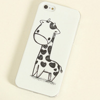 Free shipping!lovely cartoon fashion simple style Cute Giraffe Valentine Lover Hard Back Case Cover For iPhone 4 4G 4S 5g 5