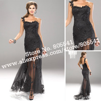 New Arrival 2013 Prom Dresses Sheath One-shoulder  Black Lace & Tulle Luxury Drop Waist Prom Dress PRD8030
