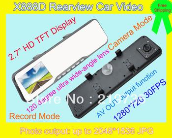 "Hot Sale X888D Car DVR Rear View Mirror Camera + HD 1280x720P + G-Sensor + 2.7"" Screen + 120 degree Angle + Night Vision"