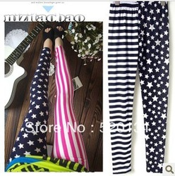 free shipping 2013 women summer flag black-and-white 9 horizontal stripe pants print plus size fashion(China (Mainland))