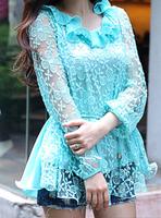 Summer women's 2013 chiffon shirt lace shirt top long-sleeve