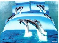 FREE SHIPPING Dolphin comforters 3d Oil painting in blue 100% cotton /quen size 4pcs bedding set