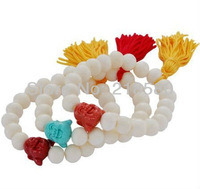 H-BB15 White Jade Happy Buddha Bracelet With Tassels