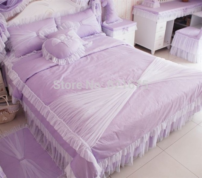FREE SHIPPING HOT sale purple princess lace comforter sets bedding bedroom bed set full /queen/king 4pcs 100% combed cotton(China (Mainland))