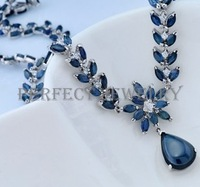Free shipping Natural real sapphire Necklace solitaire pendant S925 sterling silver Blue gems Fashion jewelry Lady jewellery