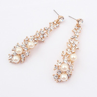 Min $20 (can mix) free shipping ladies elegant pearl long design stud earring