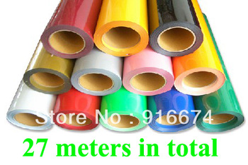 Fast Free shipping DISCOUNT 27 meters PU vinyl for heat transfer heat press cutting plotter 0.5*27m 27 colors